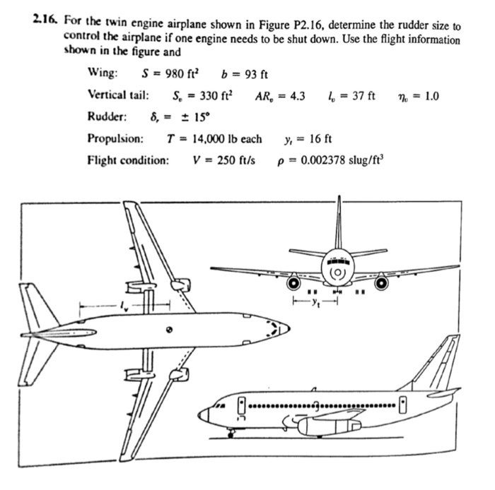 Solved: For The Twin Engine Airplane Shown In Figure P2 16