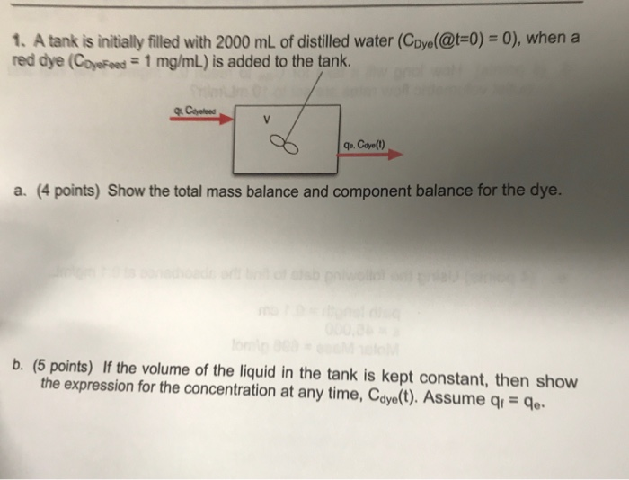 Solved: 1  A Tank Is Initially Filled With 2000 ML Of Dist