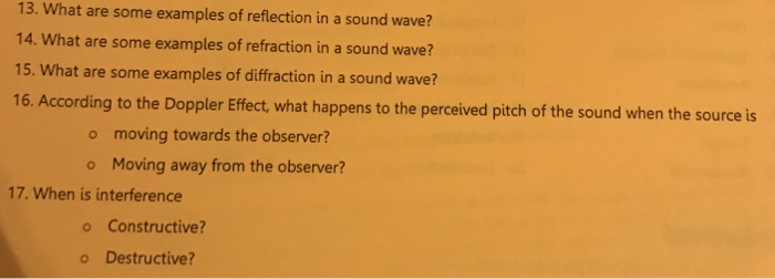 Solved What Are Some Examples Of Reflection In A Sound Wa