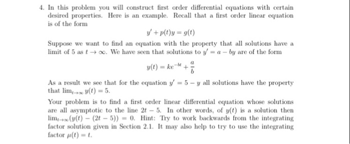 Solved In This Problem You Will Construct First Order Dif