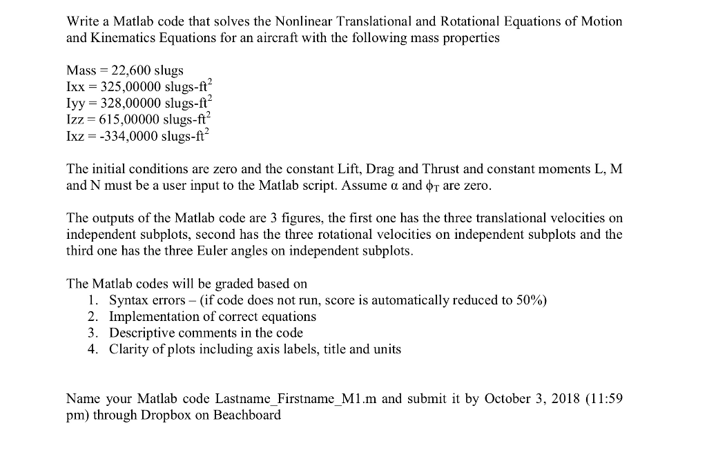 Write A Matlab Code That Solves The Nonlinear Tran