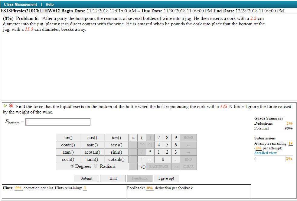 Solved Class Management I Help Fsisphysics210ch11hw12 Be