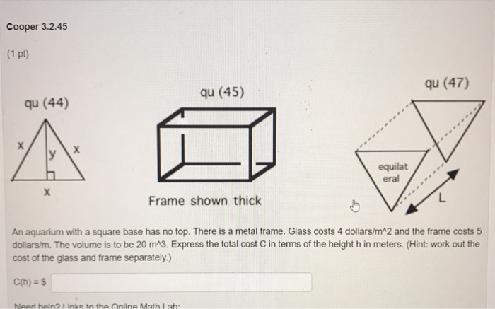 Solved: Cooper 3.2.45 (1 Pt) Qu (47) Qu (45) Qu (44) Equil ...