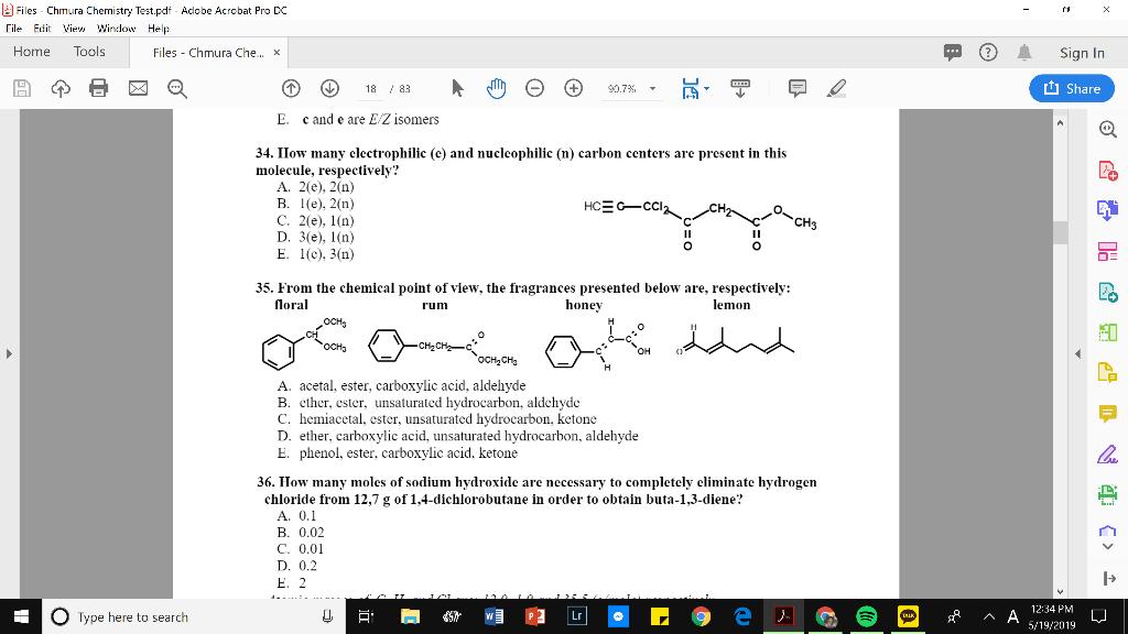 Solved: 固Files Chmura Chemistry  Test pdf Adobe Acrobat P