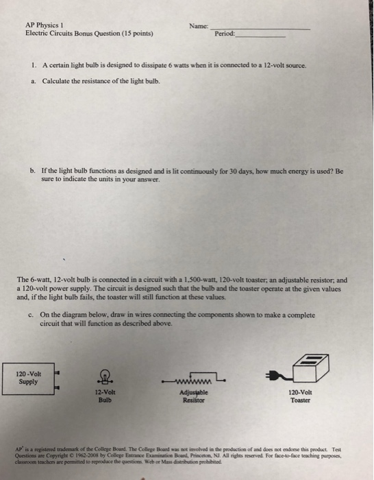 Solved: These Are Electric Circuit Questions For AP Physic