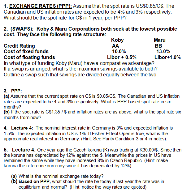 1 Exchange Rates Ppp Ume That The Spot Rate