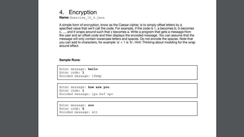 Solved: 4  Encryption Name: Exercise_10_4 java A Simple Fo