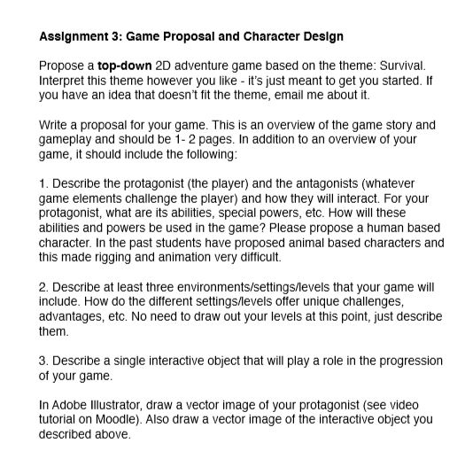 Solved Asslgnment 3 Game Proposal And Character Deslgn P