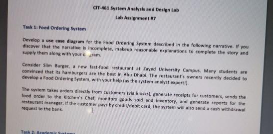 Solved Cit 461 System Analysis And Design Lab Lab Assignm Chegg Com