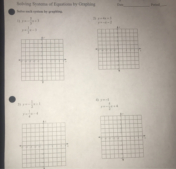 Solved: Solving Systems Of Equations By Graphing Solve Eac