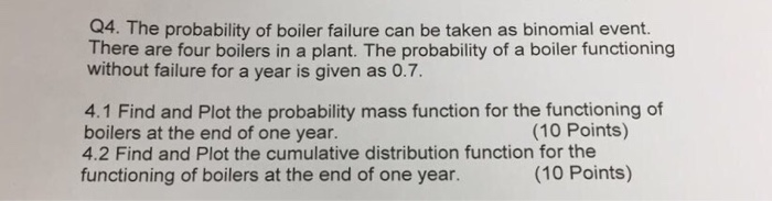 Solved: The Probability Of Boiler Failure Can Be Taken As ...