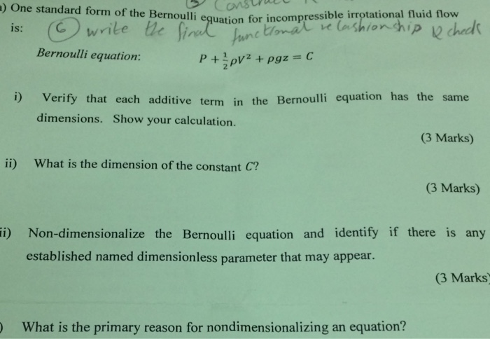Solved One Standard Form Of The Bernoulli Eguation For