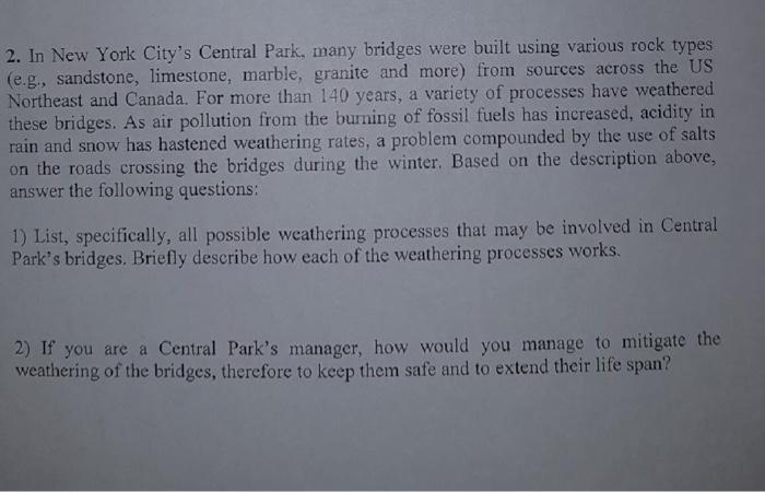 Solved 2 In New York City S Central Park Many Bridges W