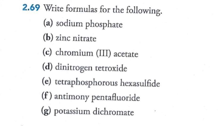 Solved: 2 69 Write Formulas For The Following  (a) Sodium