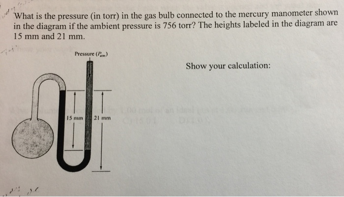 solved what is the pressure in torr in the gas bulb co rh chegg com Ant Organ Diagram Mercury the Element Labeled