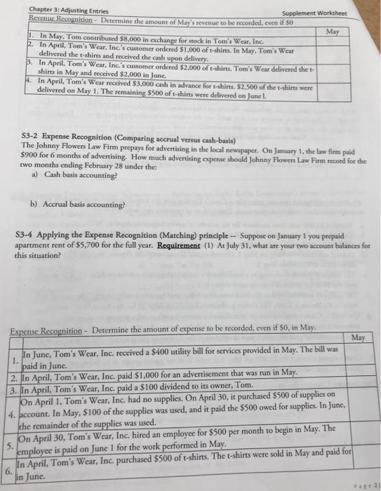 Solved: Chapter 3: Adjusting Entries Supplement Worksheet