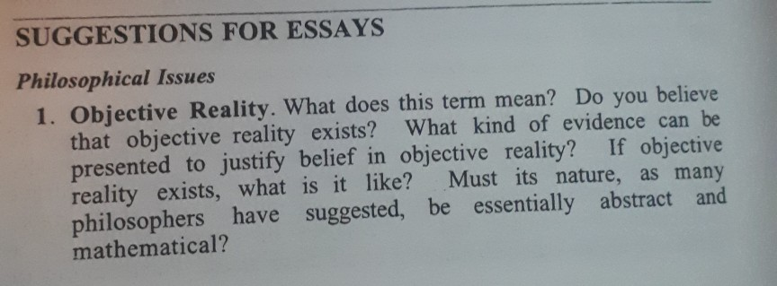 suggestions for essays philosophical issues 1 obj chegg com
