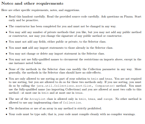 Notes and other rcquircments Here are other specifie requirements, notes, and suggestions. Read this handout carefully. Read