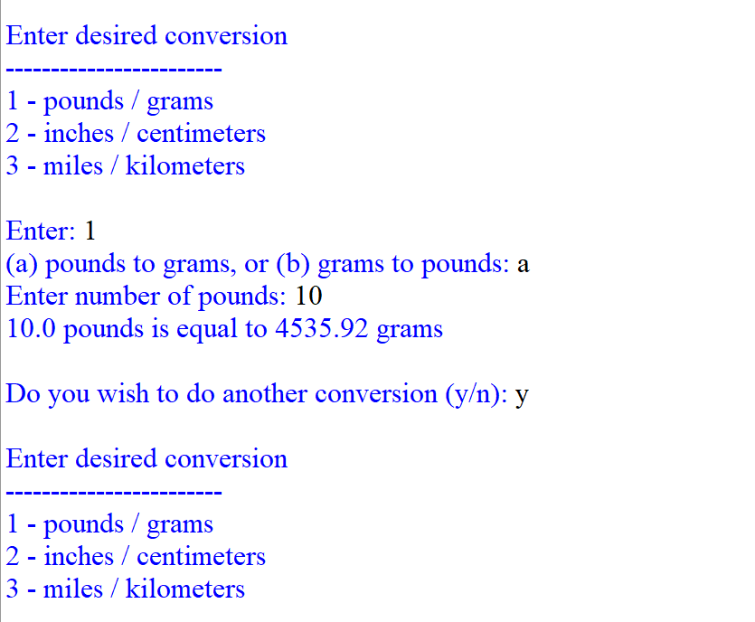 Enter Desired Conversion 1 Pounds Grams 2 Inches Centimeters Miles