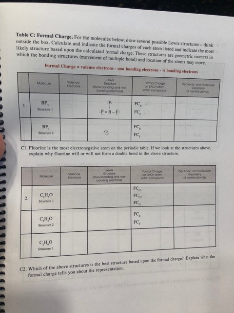 Solved: Table C: Formal Charge. For The Molecules Below, D ...