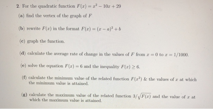 Solved: 2  For The Quadratic Function F(x)-- 10z +29 (a) F