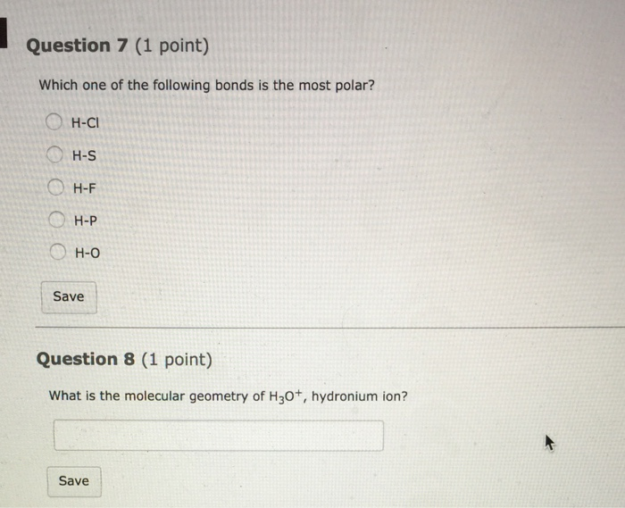 Solved: Which One Of The Following Bonds Is The Most Polar ...