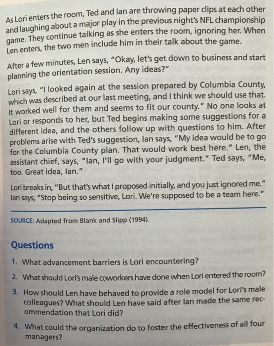 Solved: CASE 15 2 Lack Of Inclusion And Credibility Lori B