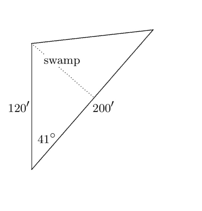 question: a triangular plot of land has the sas description indicated in  the figure shown at right  although a swamp in the middle of the plot makes  it
