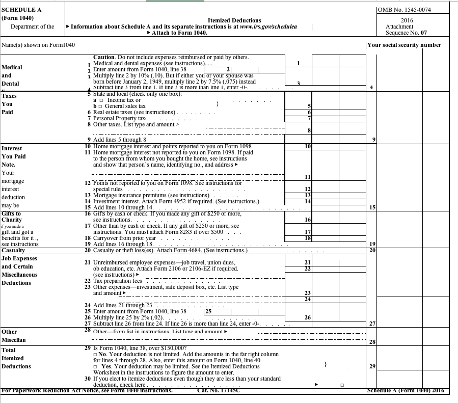 Schedule A Form 1040 Omb No 1545 0074 Itemized Deductions 2016 Attachment