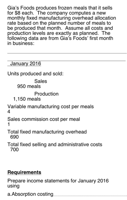Solved Gia S Foods Produces Frozen Meals That It Sells Fo
