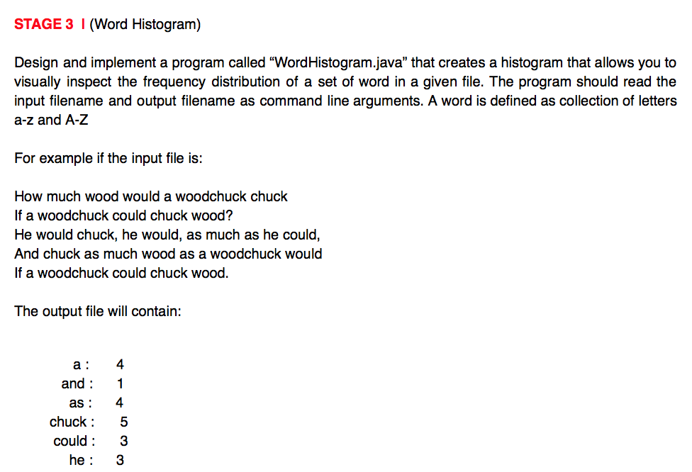Solved Stage 3 I Word Histogram Design And Implement A