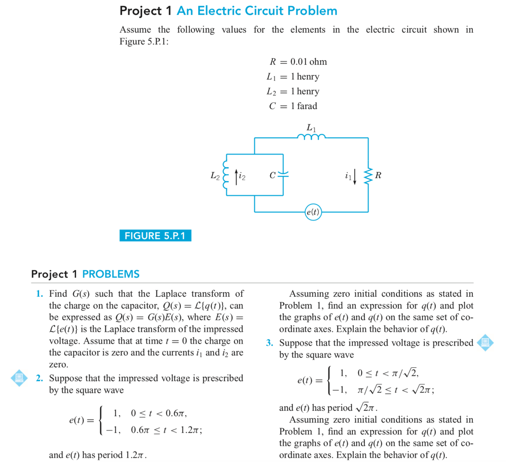 Solved This Is Differential Equations Projects Ive Neve Electronic Circuit For Project 1 An Electric Problem Assume The Following Values Elements In