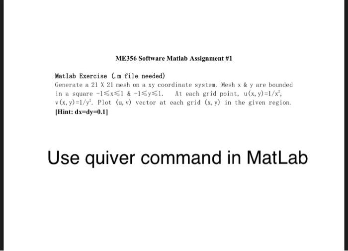 Solved: Matlab Exercise (  M File Needed) Generate A 21 X