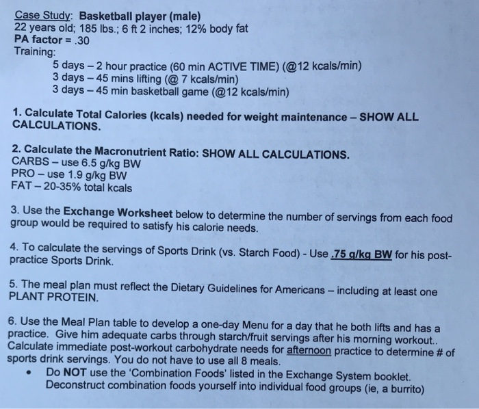 Case Study: Basketball Player (male) 22 Years Old