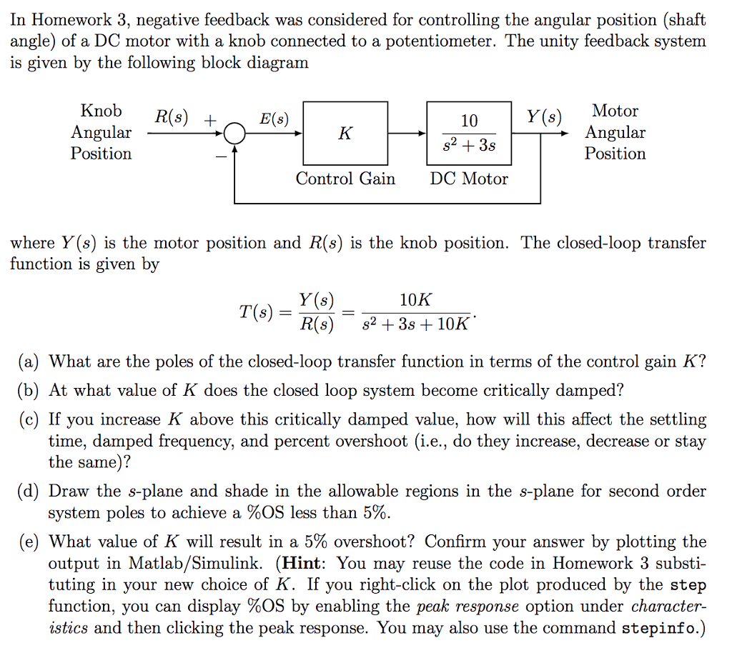 In Homework 3, negative feedback was considered for controlling the angular  position (shaft angle