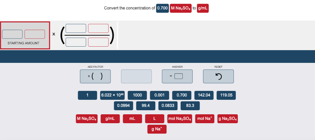 Convert The Concentration Of 0 70 M Na2so4 To G Ml Starting Amount Add Factor