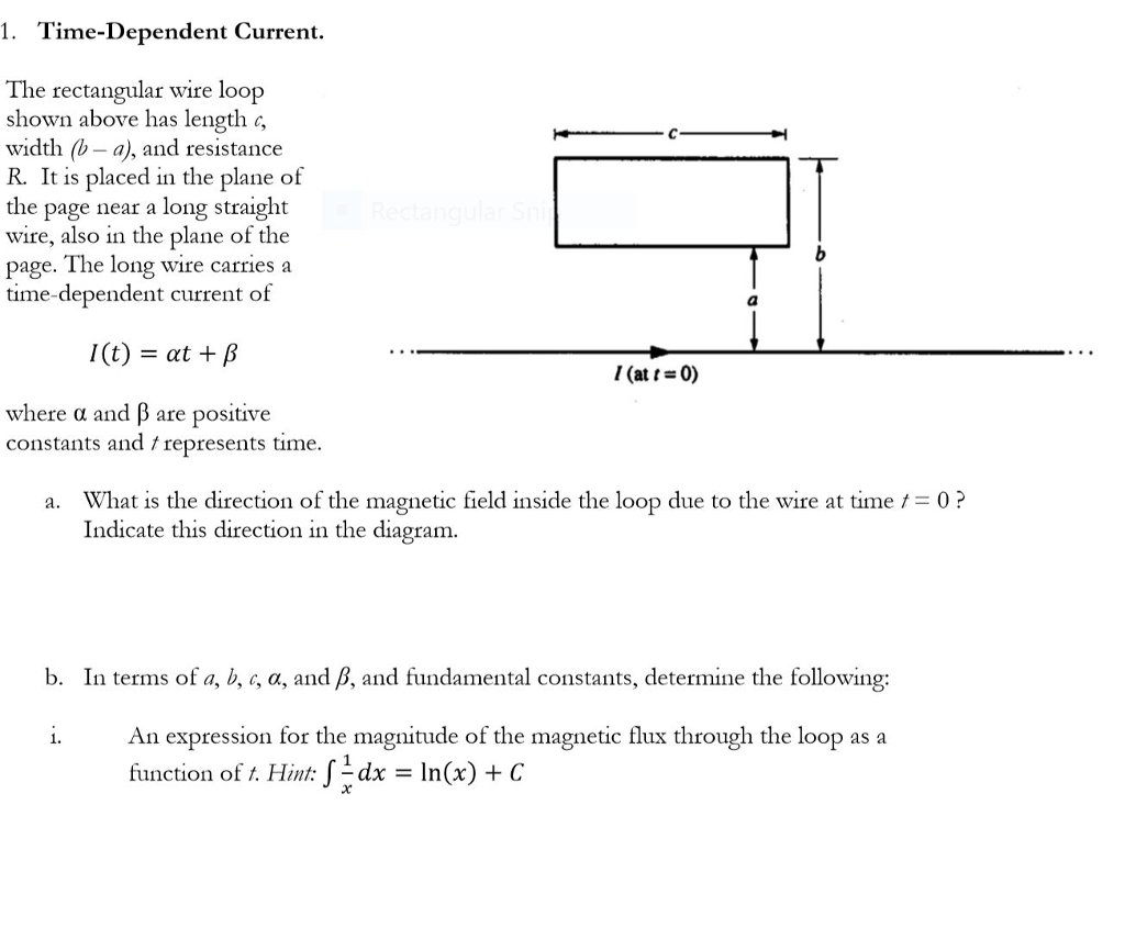 Solved 1 Time Dependent Current The Rectangular Wire Lo Straight Cool Wiring Diagram Loop Shown Above Has Length Width