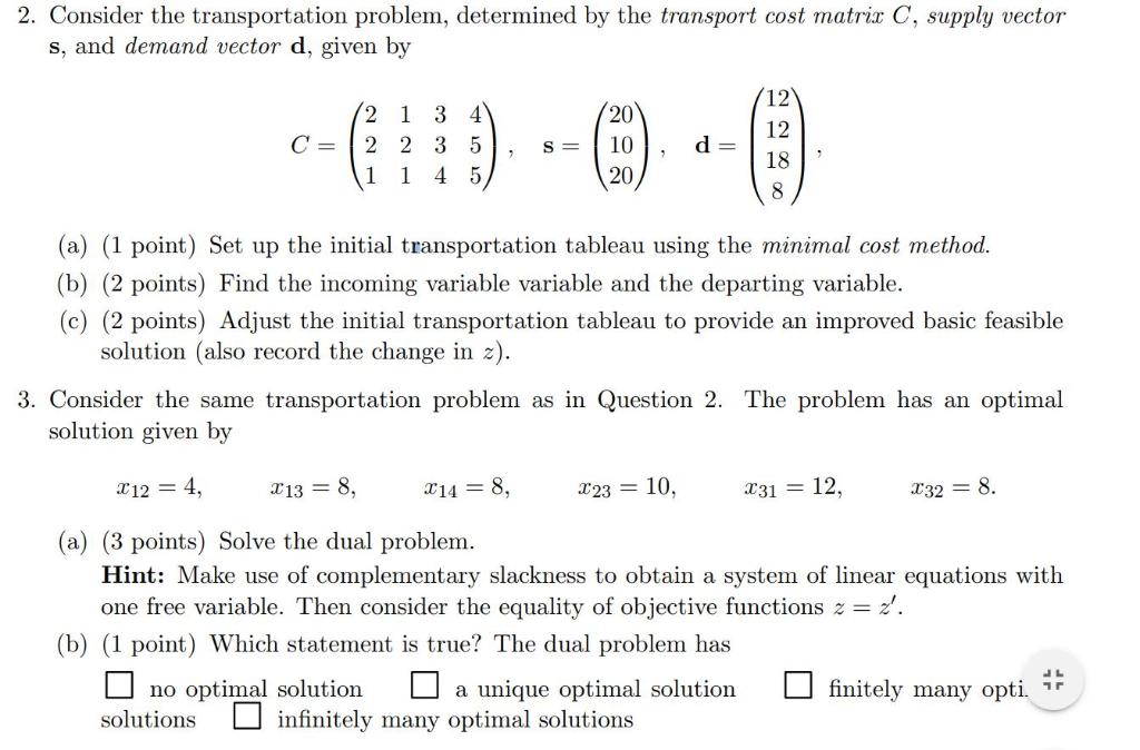 Solved: 2  Consider The Transportation Problem, Determined