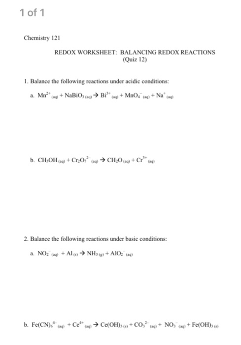 Solved 1 Of 1 Chemistry 121 Redox Worksheet Balancing Re