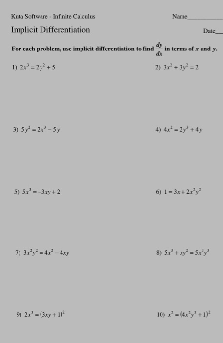 Solved: Kuta Software - Infinite Calculus Implicit Differe