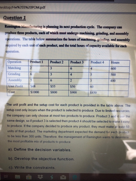 Solved: Esktop/Hw%203962OPOM pdf Question 1 Remington Manu