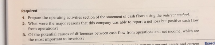 Required 1. Prepare the operating activities section of the statement of cash flows using the indirect method. 2. What were t