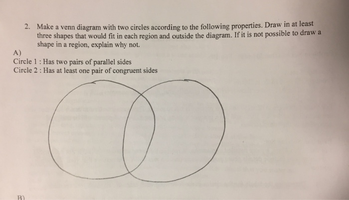 Solved East 2 Make A Venn Diagram With Two Circles Accor