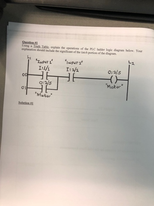 question #1 using a truth table, explain the operations of the plc ladder  logic