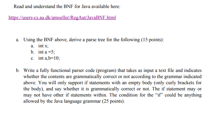Read And Understand The BNF For Java Available Her