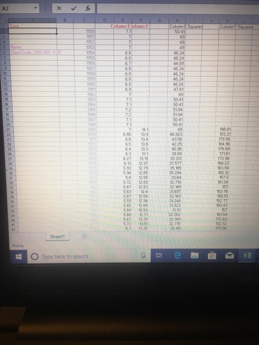 A2 Column E Column E Squared 68 68 69 1970 6 85