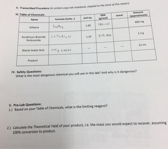 carbon copy lab notebook stapled to the back of this sheet formula