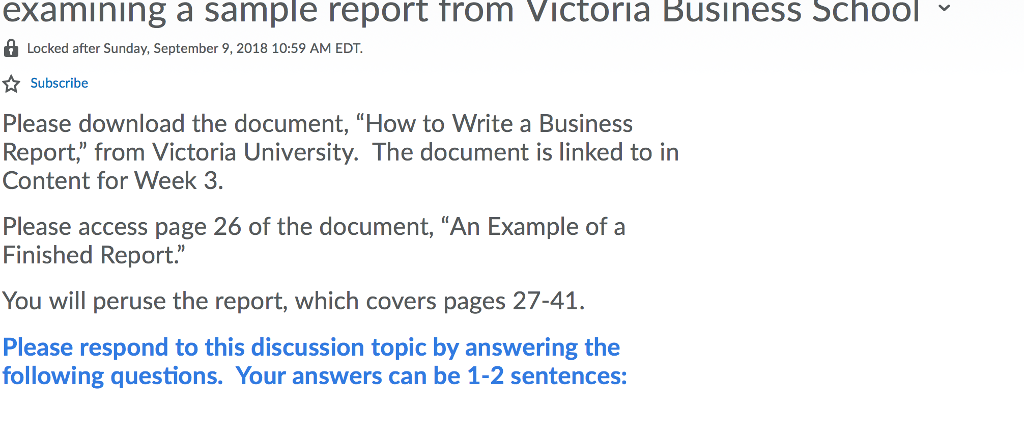 sample report from victoria business school examin chegg com