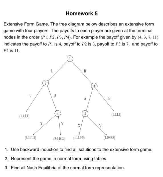Solved Extensive Form Game The Tree Diagram Below Descri