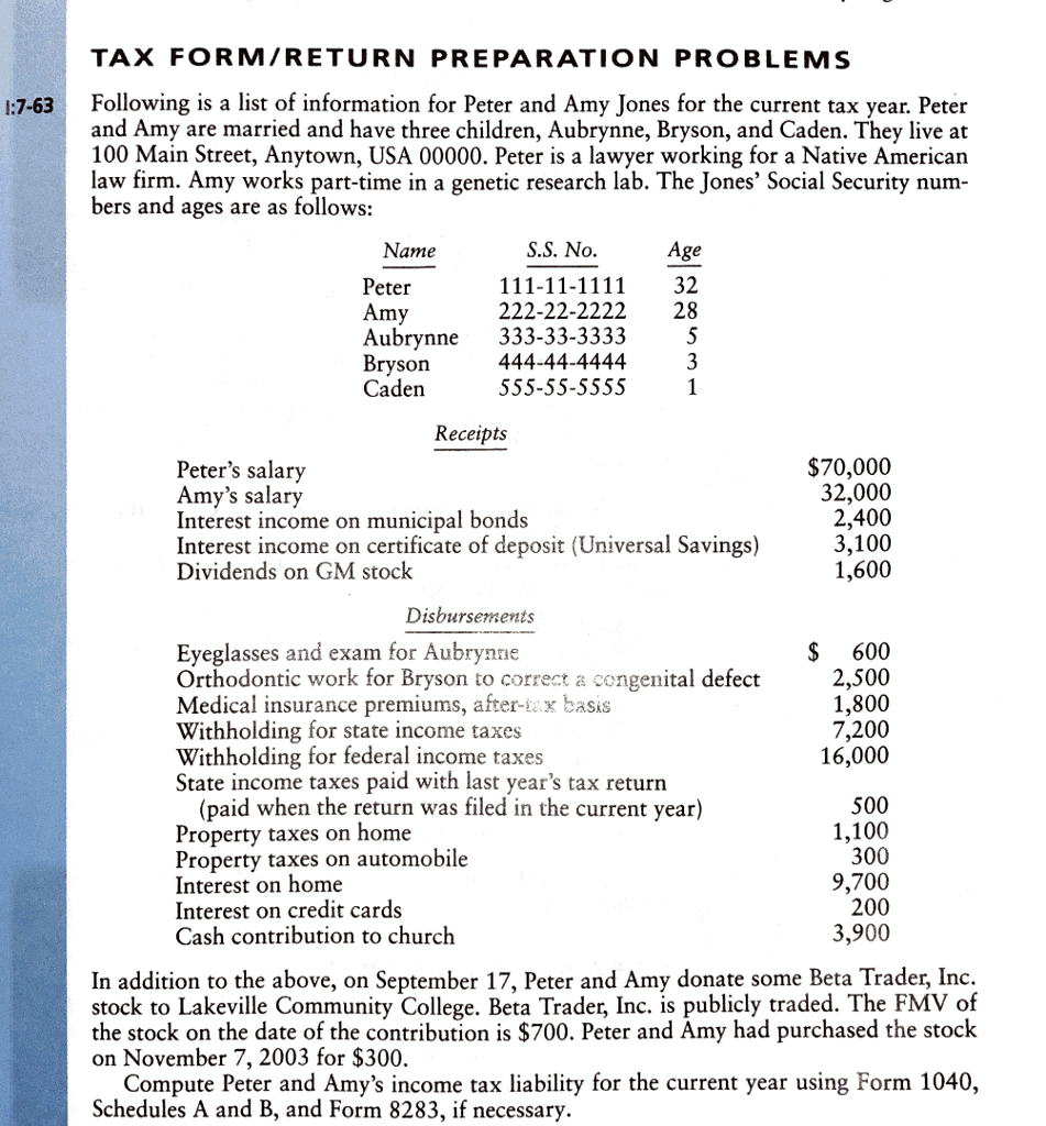 Solved: Please Complete Tax Tax Return Using 2017\'s 1040 F ...